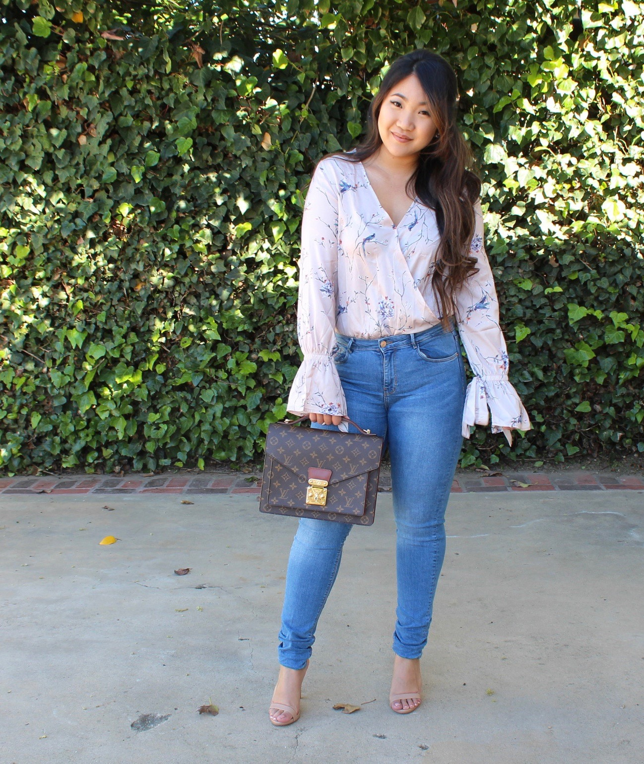 Light Pink Floral Wrap Blouse