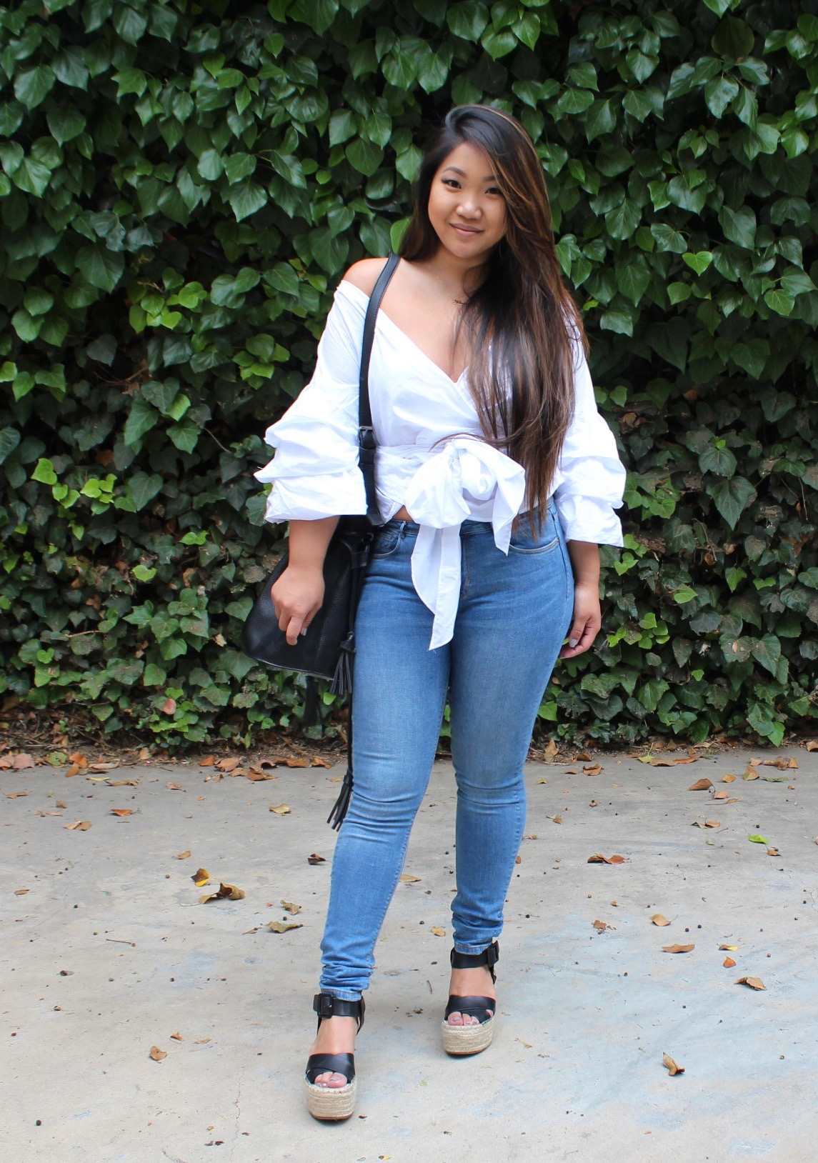 Off The Shoulder Front Bow Blouse