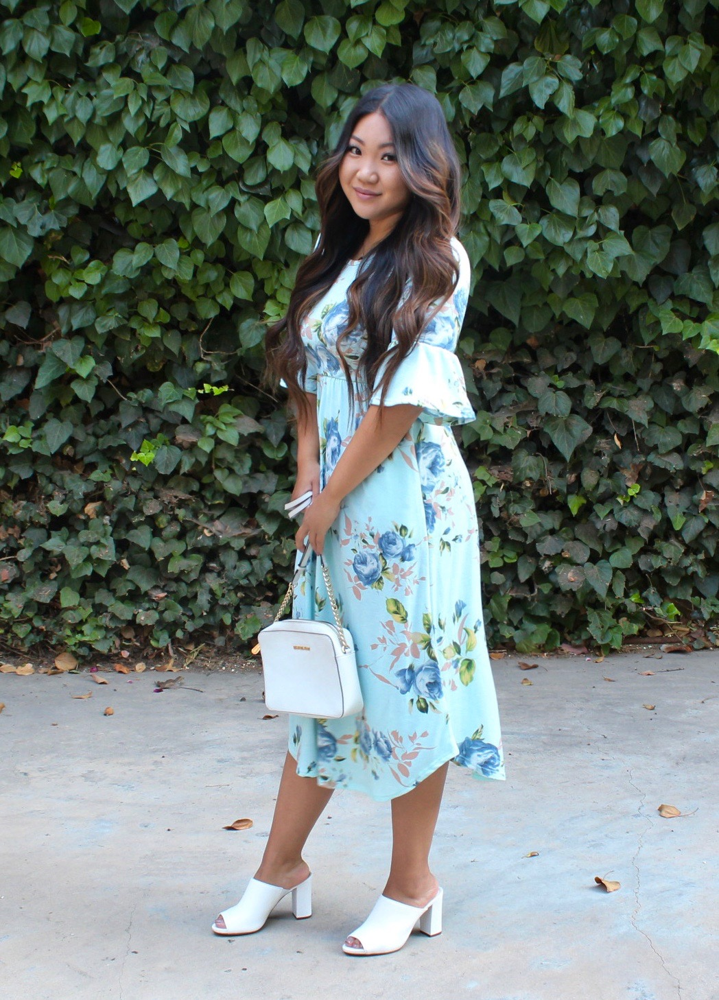 Mint Floral Ruffle Sleeve Midi Dress