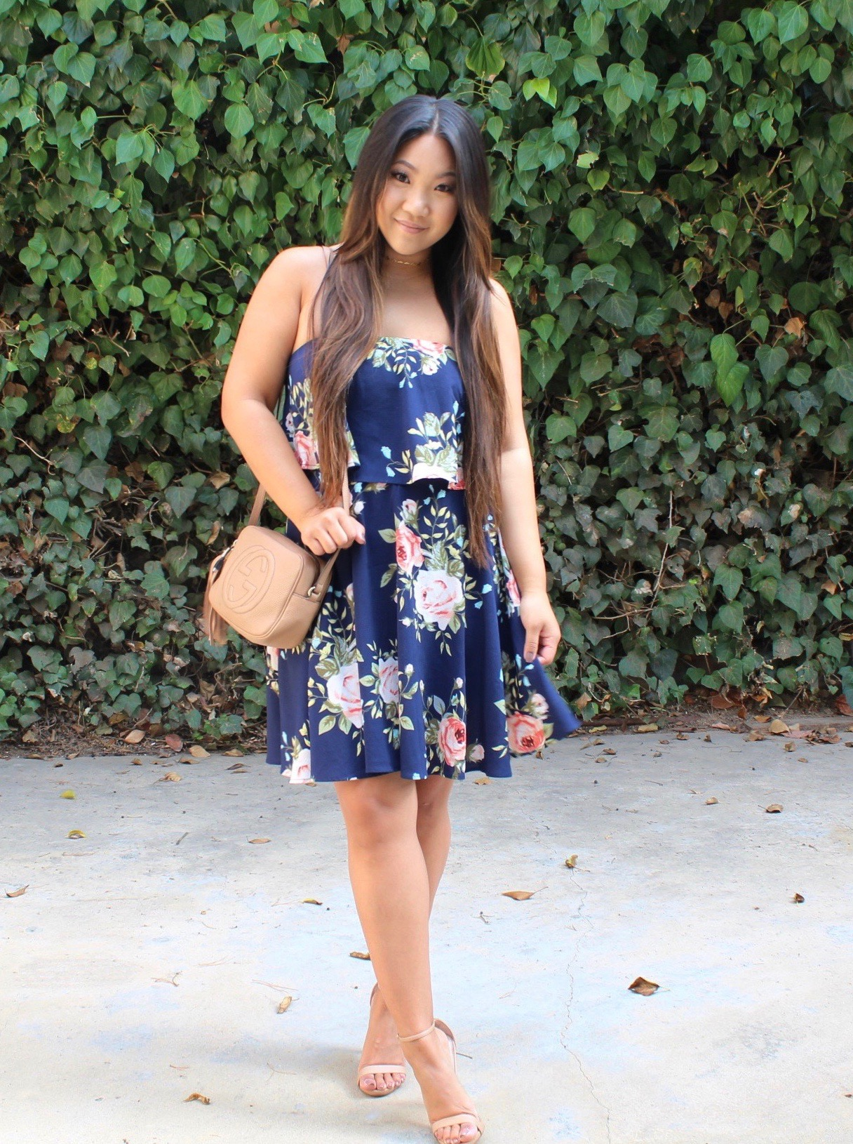FLOWER PRINT TWO LAYER BANDEAU DRESS