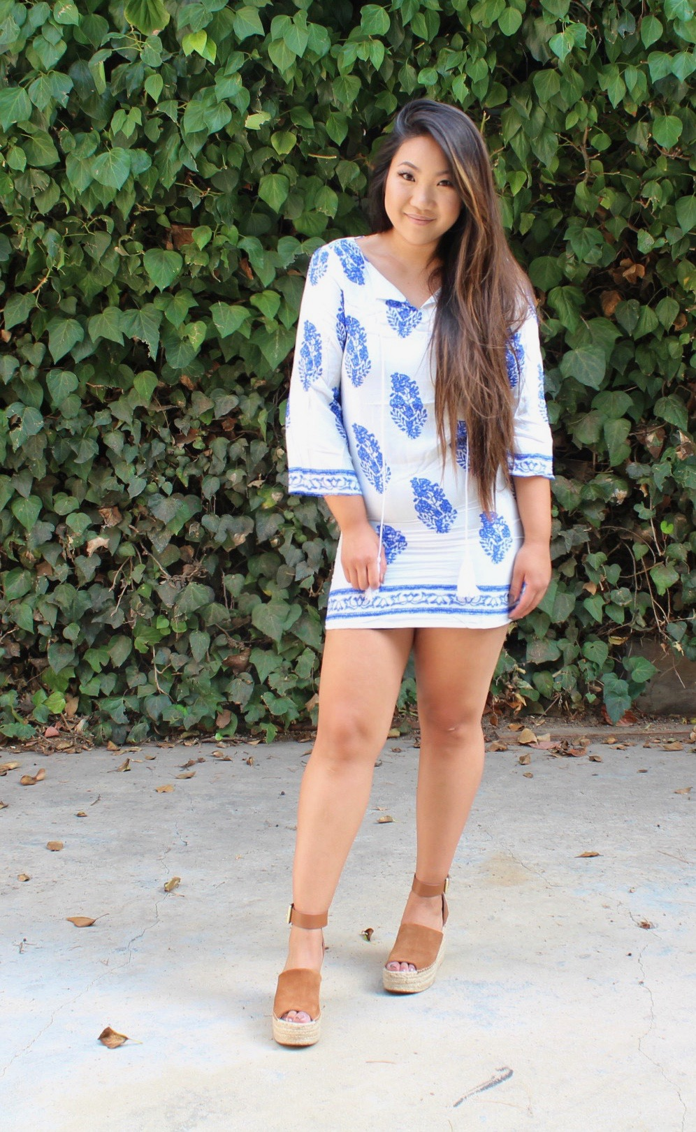 Blue and White Long Sleeve Shift Dress