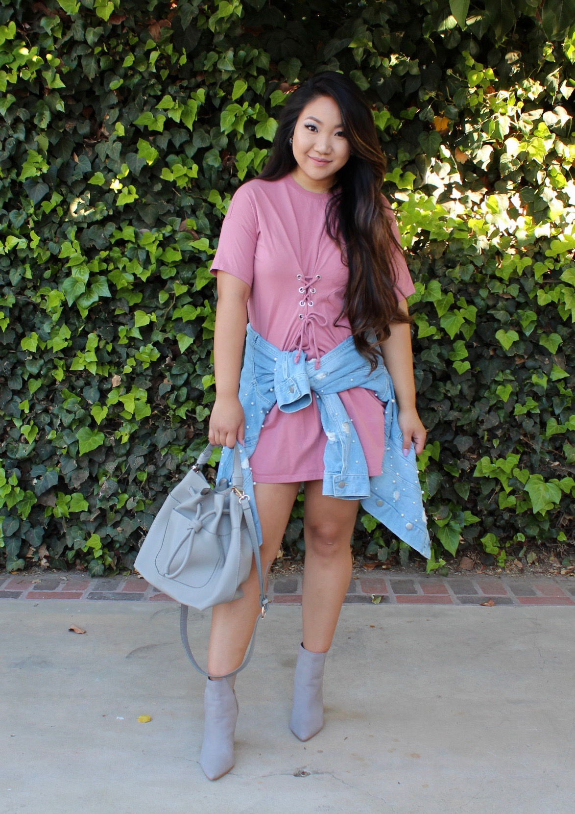 Cinched In Lace Up Waist T-Shirt Dress