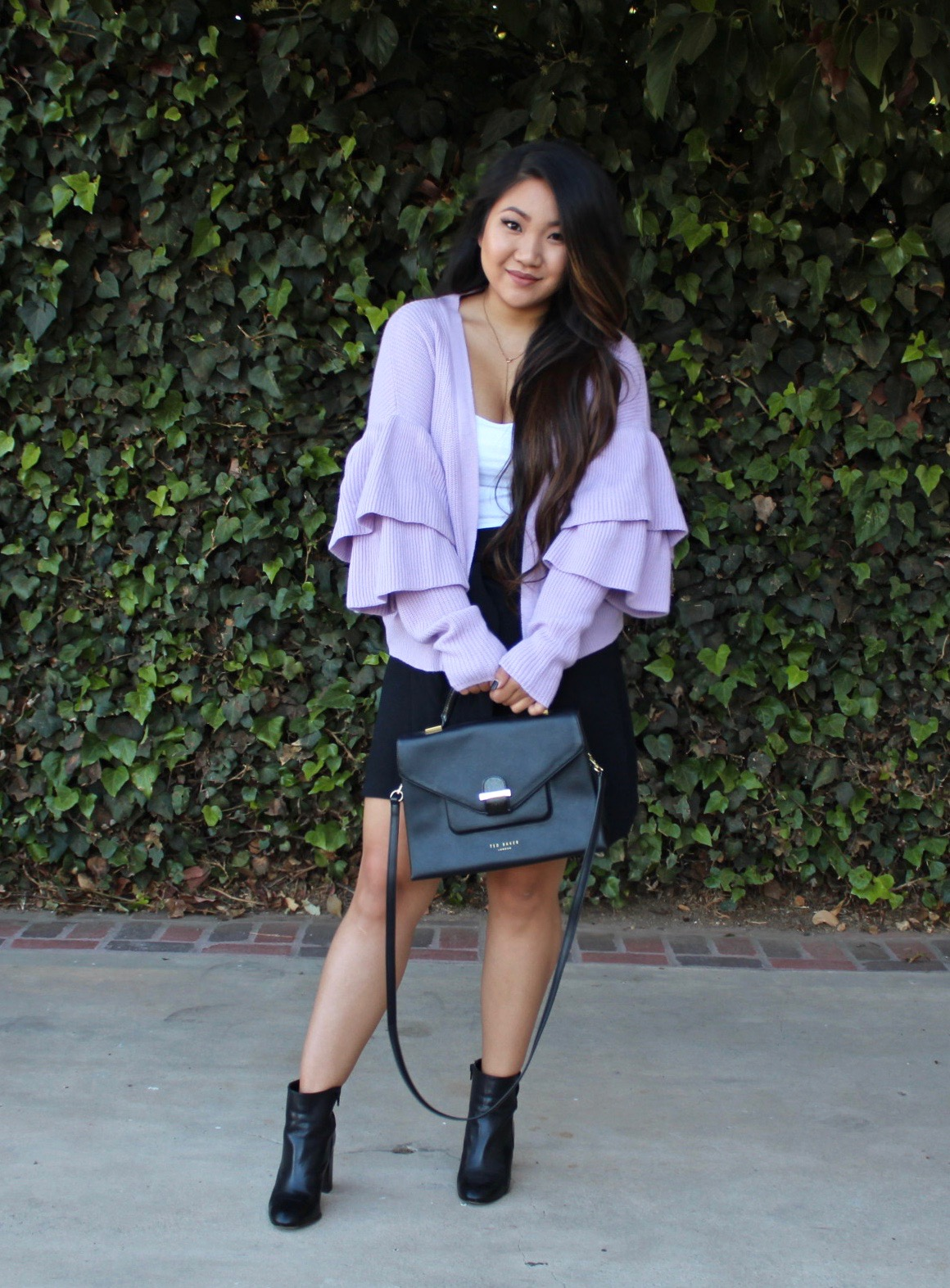 Purple Layered Frill Trim Cardigan