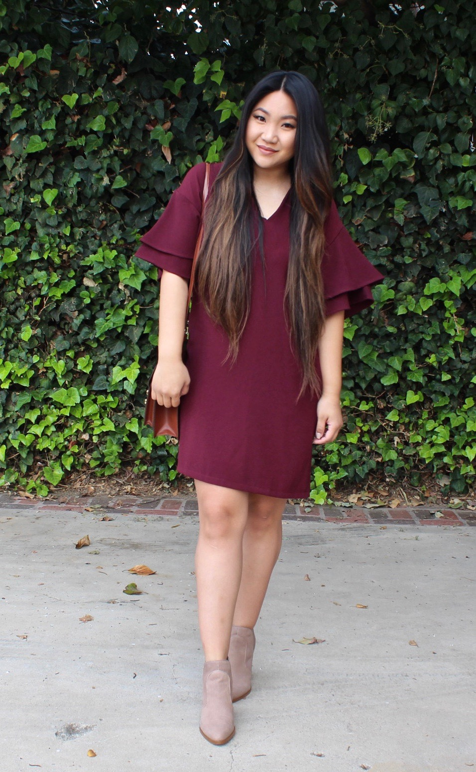 Burgundy Ruffle Sleeve Shift Dress