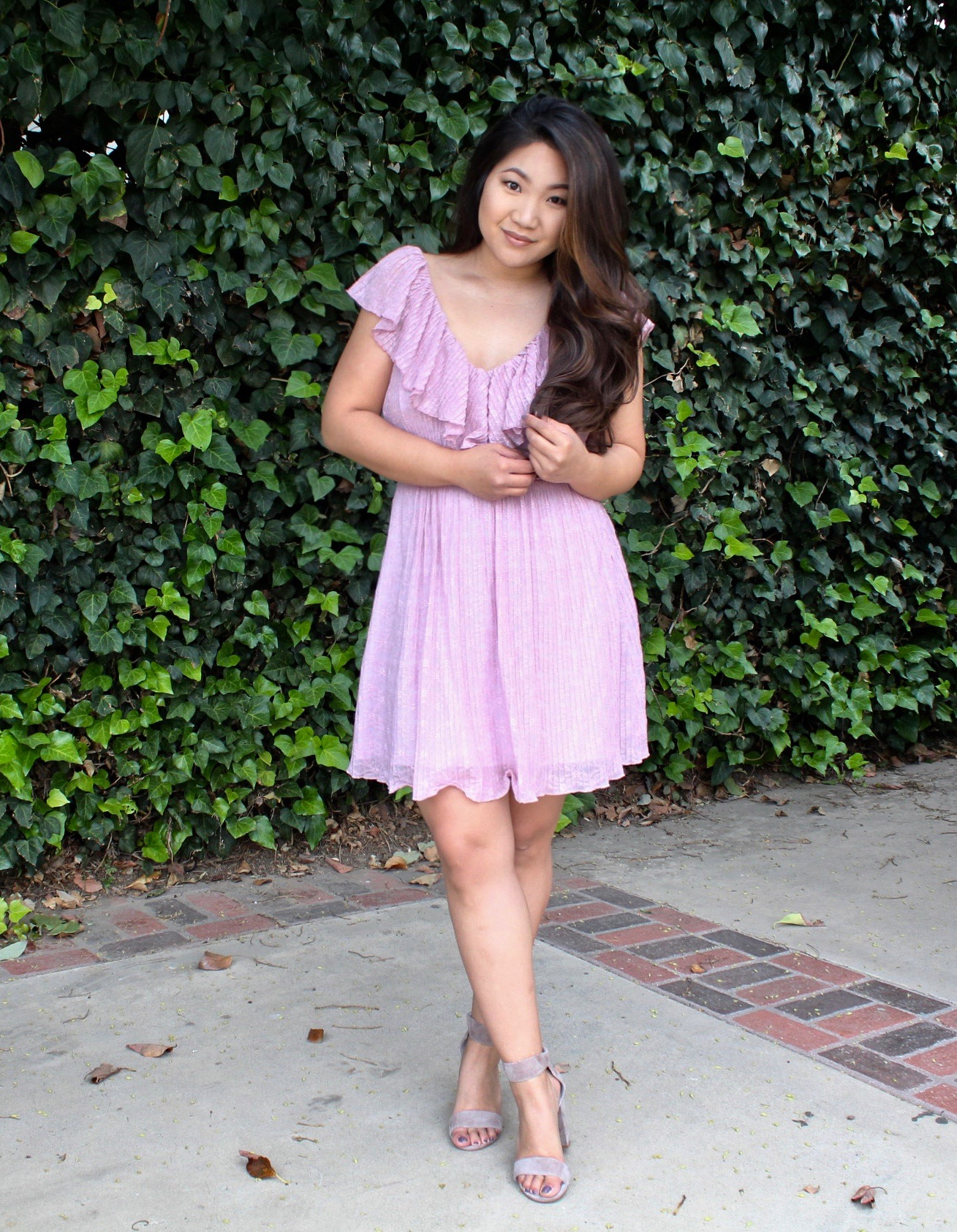 Pink Ruffle Skater Dress