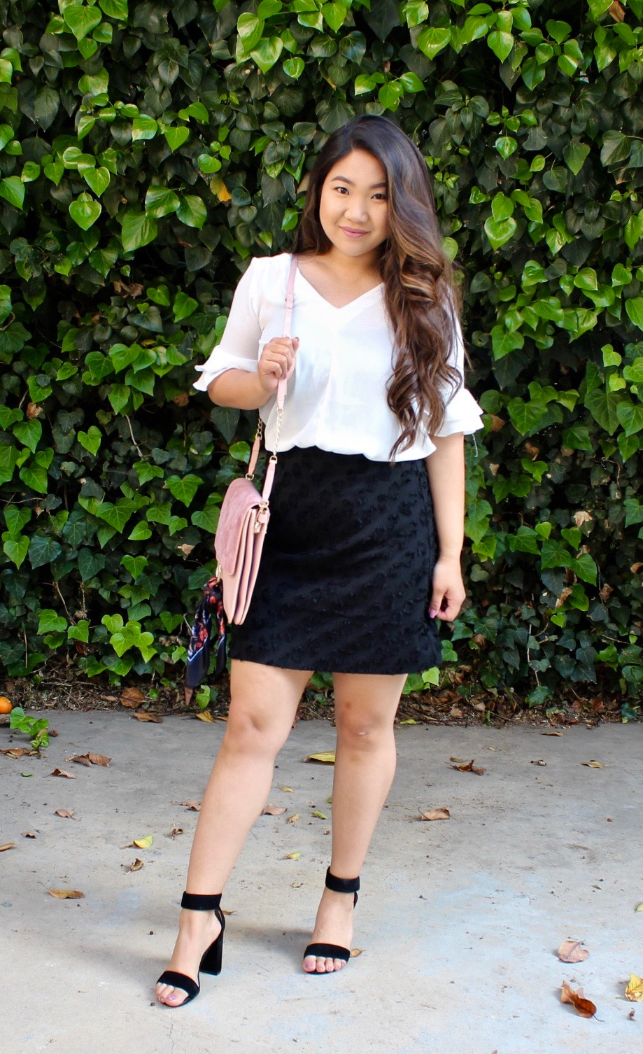 Loft Black Textured Skirt