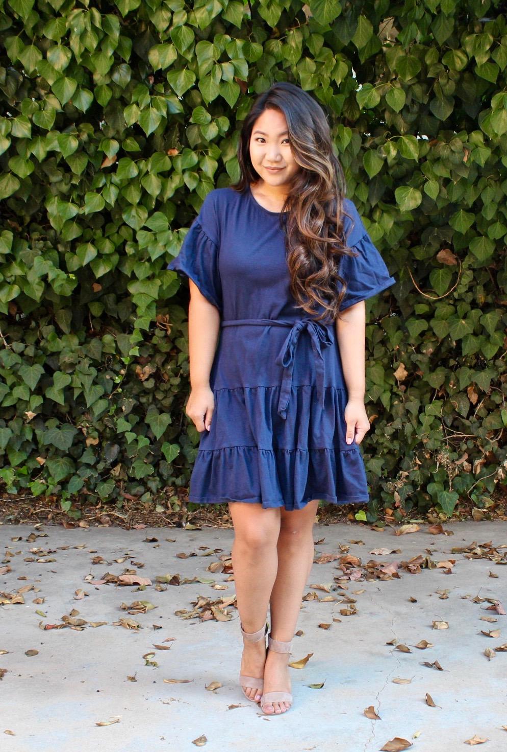 Drop Waist Ruffle Cotton Dress