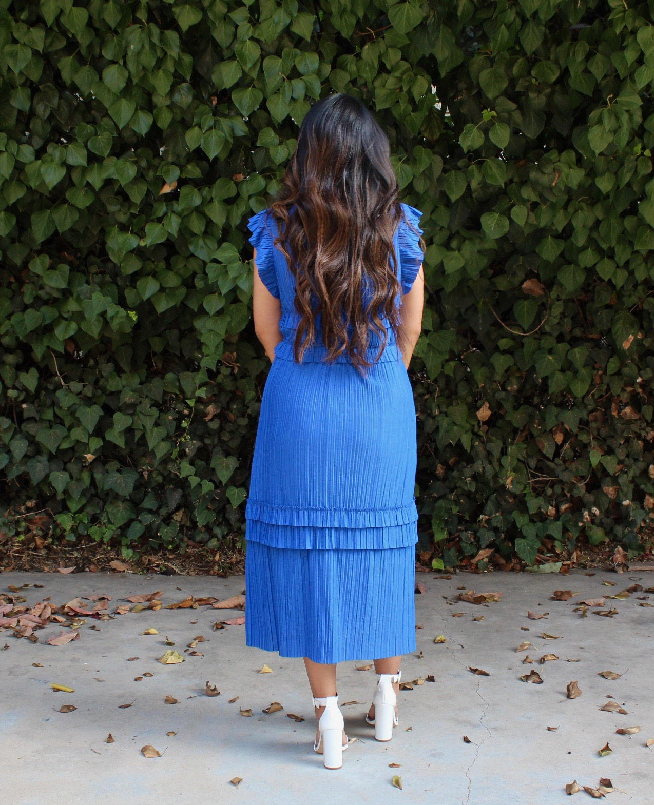 Pleated Cap Sleeve Midi Dress