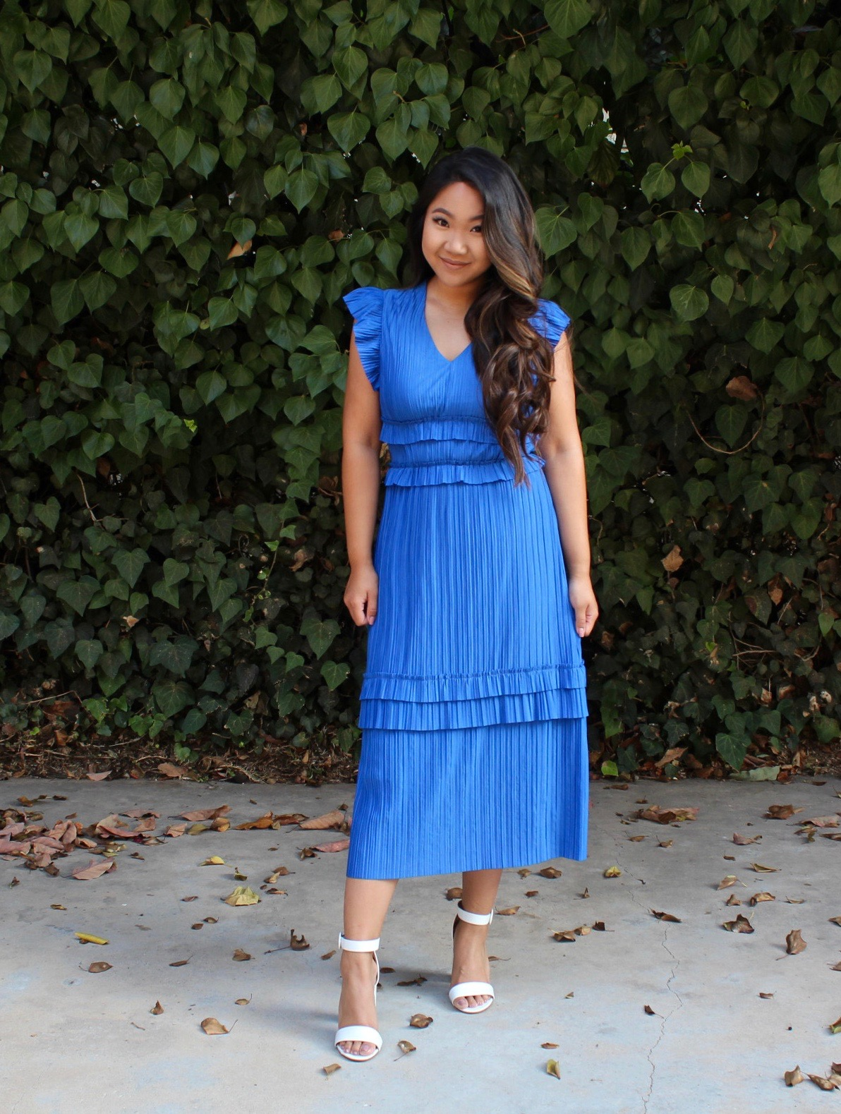 Pleated Cap Sleeve Midi Dress