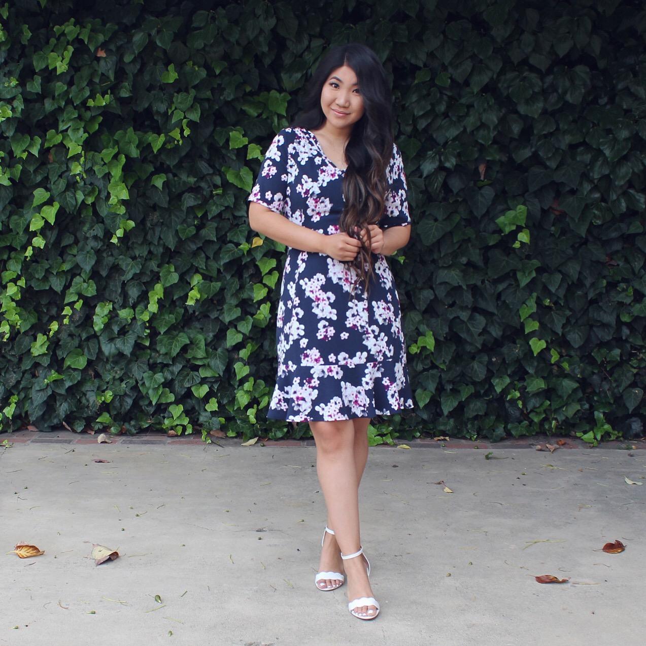 Lark & Ro Women's Short Sleeve A-line Peplum Dress with Belt
