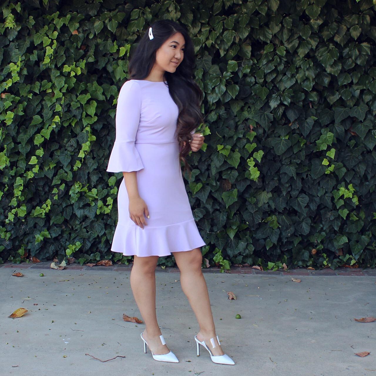 Nine West Women's Bell Sleeve Dress with Ruffle Skirt