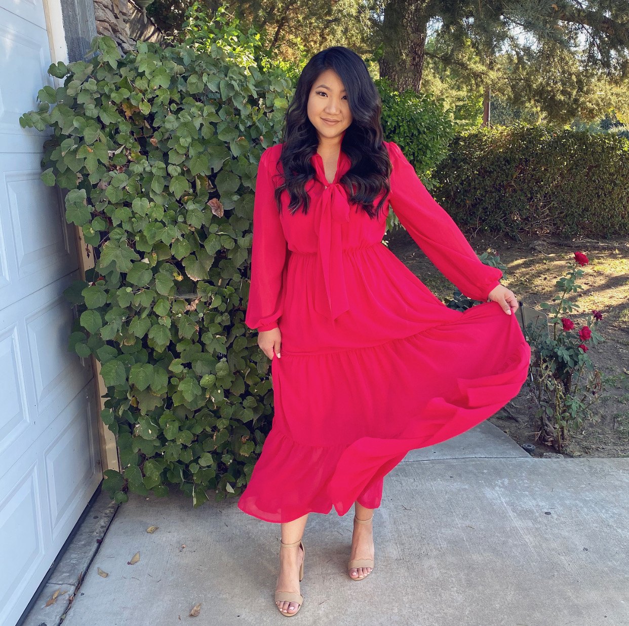Who What Wear Red Midi Dress